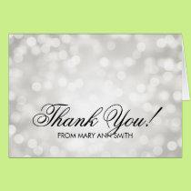 """Thank you"" 50th Birthday Silver Glitter Lights Card"