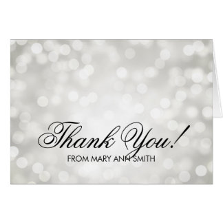 """Thank you"" 50th Birthday Silver Glitter Lights Greeting Card"