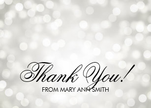 Thank You 50th Birthday Silver Glitter Lights Card