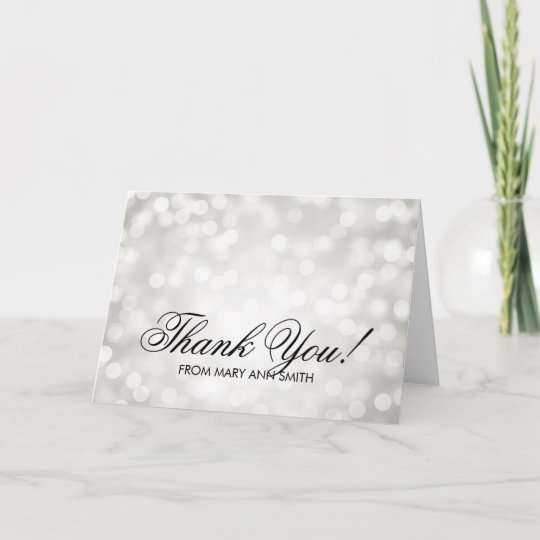 Thank You 50th Birthday Silver Glitter Lights Thank You Card
