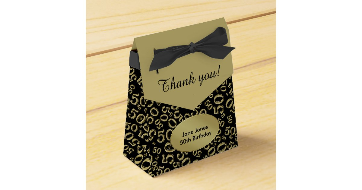 Thank You 50th Birthday Theme Gold Black Favor Box Zazzle Com