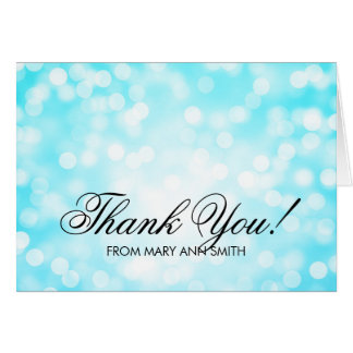 """""""Thank you"""" 50th Birthday Turquoise Glitter Lights Greeting Card"""