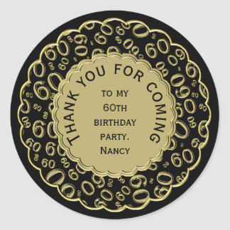 Thank You 60th Birthday Black and Gold Theme Classic Round Sticker