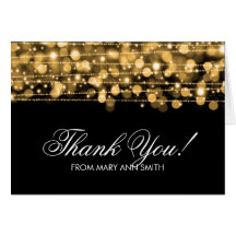 """""""Thank you"""" 60th Birthday Party Sparkles Gold Card"""