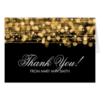 """""""Thank you"""" 60th Birthday Party Sparkles Gold Greeting Card"""
