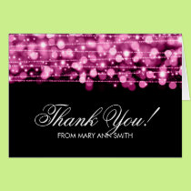 """Thank you"" 60th Birthday Party Sparkles Pink Card"