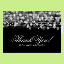 """""""Thank you"""" 60th Birthday Party Sparkles Silver Card"""