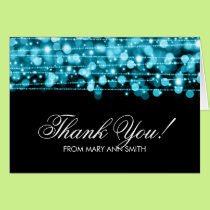 """Thank you"" 60th Birthday Party Sparkles Turquoise Card"