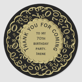 Thank You 70th Birthday Black and Gold Theme Classic Round Sticker