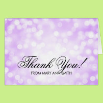 """Thank you"" 70th Birthday Purple Glitter Lights Card"