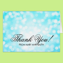 """""""Thank you"""" 70th Birthday Turquoise Glitter Lights Card"""