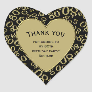 Thank you - 80th Birthday Black and Gold Heart Heart Sticker