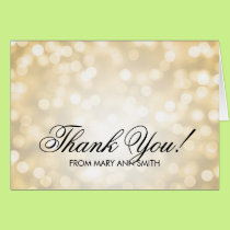 """Thank you"" 80th Birthday Gold Glitter Lights Card"