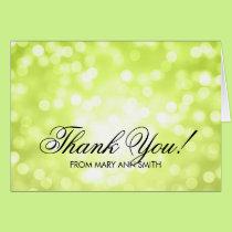 """Thank you"" 80th Birthday Green Glitter Lights Card"