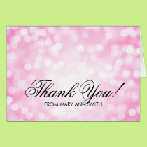 """Thank you"" 80th Birthday Pink Glitter Lights Card"