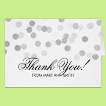 Thank you 80th Birthday Silver Foil Glitter Lights Card
