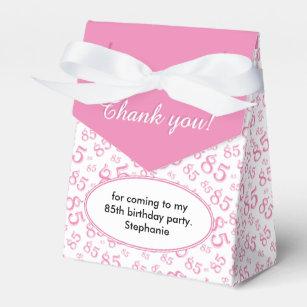 Thank You 85th Birthday Pink White Pattern Favor Box