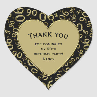 Thank you - 90th Birthday Black and Gold Heart Heart Sticker