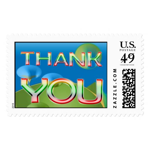 Thank You abstract bubbles Postage Stamp
