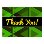 """[ Thumbnail: """"Thank You!"""" + Abstract Green Triangles Pattern Postcard ]"""