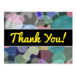 "[ Thumbnail: ""Thank You!""; Abstract Multicolored Blotch Pattern Postcard ]"