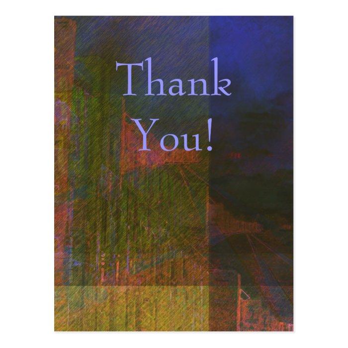 Thank You Abstract Train Custom Postcard