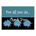 THANK YOU Admin Professionals Day BLUE FLOWERS Greeting Cards
