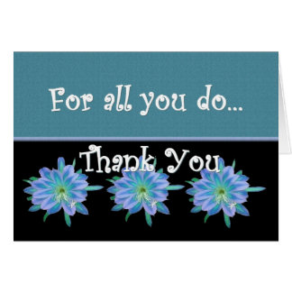 THANK YOU Admin Professionals Day BLUE FLOWERS Greeting Card