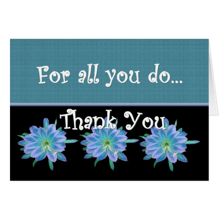 THANK YOU Admin Professionals Day BLUE FLOWERS Card