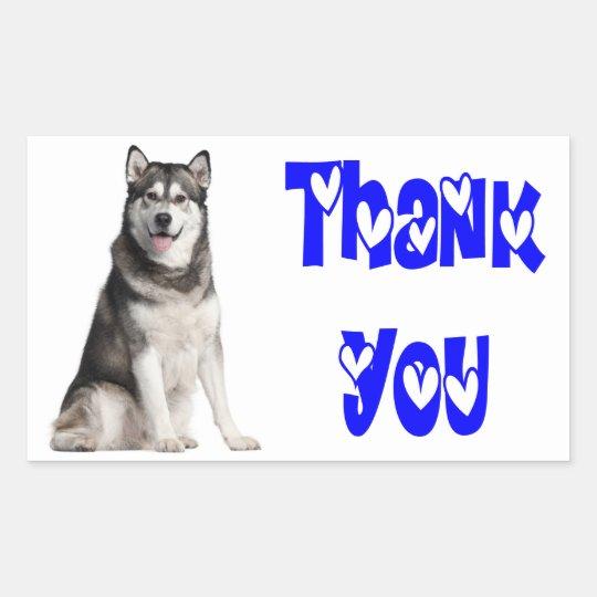 Thank You Alaskan Malamute Puppy Dog  Sticker