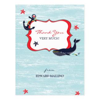 Thank You Anchor Whale Postcard