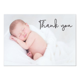 Thank You and Baby Birth Announcement, handletter Invitation