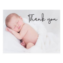 Thank You and Baby Birth Announcement Script text Postcard