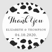 Thank You - Animal Print, Cow Spots - Black White Classic Round Sticker