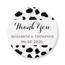 Thank You - Animal Print, Cow Spots - Black White Favor Tags