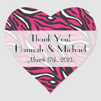 Thank You - Animal Print, Zebra Stripes - Pink Heart Sticker