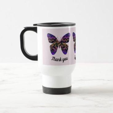 Thank You Appreciation Modern Bright Butterfly Travel Mug