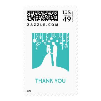Thank you - aqua bride & groom silhouettes postage