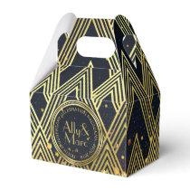 Thank You Art Deco Gatsby Gold Glitter Geometric Favor Box