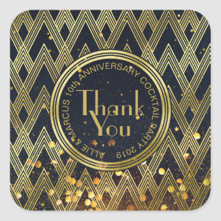 Thank You Art Deco Gatsby Gold Glitter Geometric Square Sticker