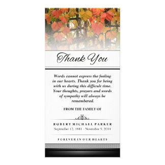 Thank You Autumn Leaves Words Cannot Express Photo Card