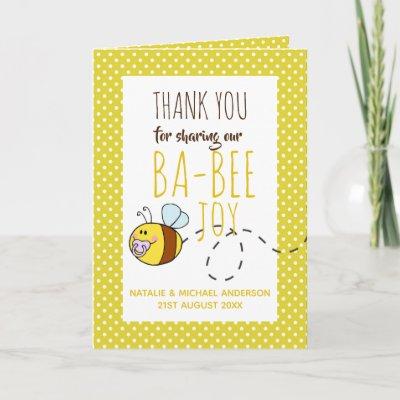 Thank You BA-BEE Baby Shower Yellow Polkadot Card