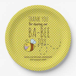 Thank You BA-BEE Baby Shower Yellow Polkadot Paper Plate