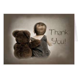 Thank You - Baby and Teddy Bear (Friends) Brown Card