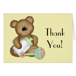 Thank You!-Baby Bear with Baby Bottle+Rattle Card