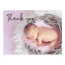 Thank You Baby Birth Announcement Script font Postcard