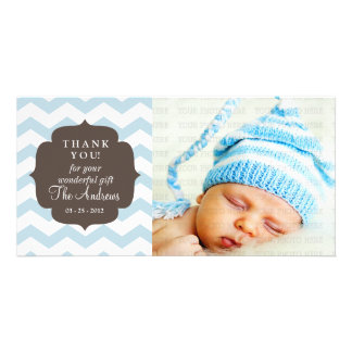 Thank You Baby Blue Chevron Zigzag Stripes Card