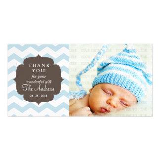 Thank You Baby Blue Chevron Zigzag Stripes Photo Card