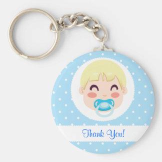 Thank You Baby Boy Design Basic Round Button Keychain