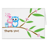 Thank you Baby Boy Owl Baby Shower Note Card